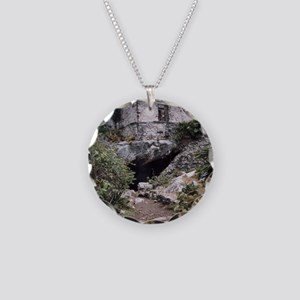 Mayan Building, Tulum, Mexic Necklace Circle Charm